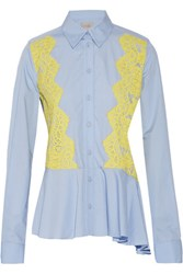 Preen By Thornton Bregazzi Warner Lace Paneled Cotton Shirt Light Blue