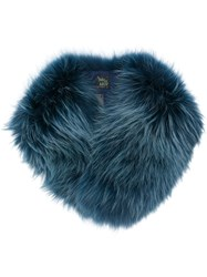 Mr And Mrs Italy Raccoon Fur Collar Blue