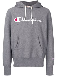 Champion Embroidered Logo Hoodie Grey