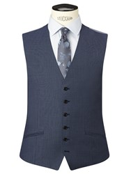 Richard James Mayfair Birdseye Wool Slim Fit Waistcoat Blue