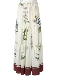 Erika Cavallini Floral Printed Long Skirt White