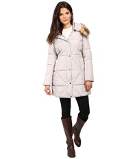 Jessica Simpson Cinched Waist Puffer W Hood And Removable Faux Fur Pearl Women's Coat White