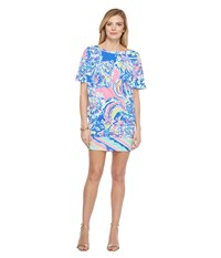 Lilly Pulitzer Lowe Dress Multi Coastal Retreat Engineered Women's Dress Blue