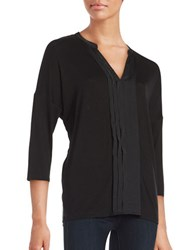 Lord And Taylor Pleated Split V Neck Tee Black
