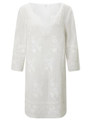John Lewis Embellished Cotton Kaftan White