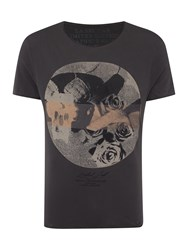 Label Lab Skulls And Roses Graphic T Shirt Charcoal