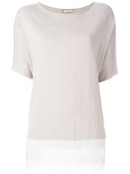 Fay Relaxed Lace Hem Blouse Nude And Neutrals
