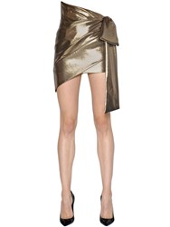 Saint Laurent Asymmetric Draped Silk Lame Skirt