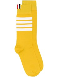 Thom Browne 4 Bar Mid Calf Cotton Socks Yellow
