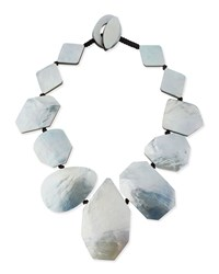 Geometric Mother Of Pearl Collar Necklace Women's Silver Viktoria Hayman