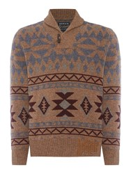 Howick Men's Colorado Shawl Neck Jumper Oak