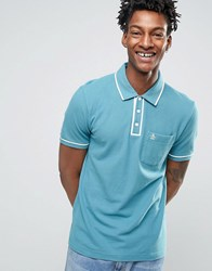 Original Penguin Slim Fit Pocket Polo Shirt With Tipping Blue