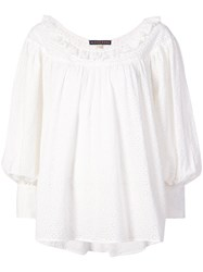 Alexa Chung Embroidered Long Sleeve Blouse White