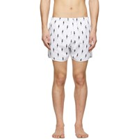Neil Barrett White Lightning Bolt Swim Shorts