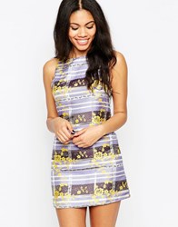 Glamorous Shift Dress In Floral Stripe Lilac Yellow Flor Purple