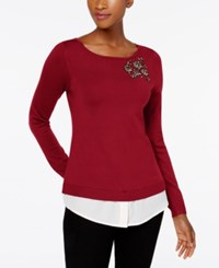 Charter Club Layered Look Brooch Sweater Created For Macy's New Red Amore