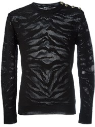 Balmain Animal Print Sweater Black