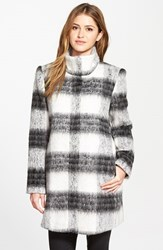 Women's Kensie Blurred Plaid Stand Collar Coat Black White Plaid