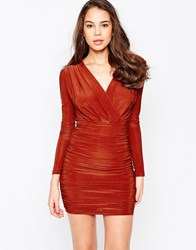 Ax Paris Long Sleeve V Front Dress In Slinky Rust Red
