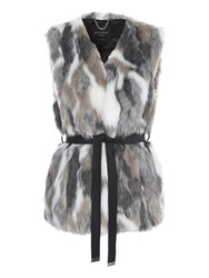 Jane Norman Mixed Fur Belted Gilet Coat Multi Coloured