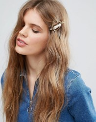Asos Limited Edition Faux Pearl Heart Hair Clip Gold