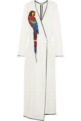 Attico Raquel Beaded Appliqued Twill Wrap Maxi Dress Off White