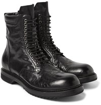 Rick Owens Distressed Leather Combat Boots Black