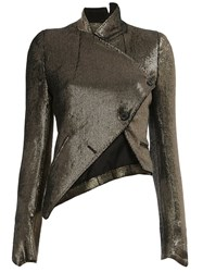 Ann Demeulemeester Cropped Wrap Jacket Metallic