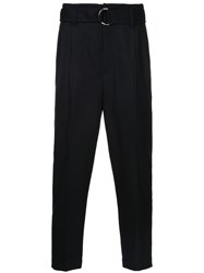 3.1 Phillip Lim Tailored Cropped Trousers Polyurethane Viscose Wool Blue