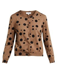 Isa Arfen Flocked Polka Dot Wool Cardigan Camel