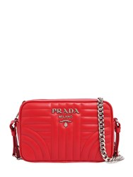 Prada Small Quilted Soft Leather Camera Bag Red
