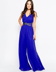 Little Mistress Jumpsuit With Embellished Waist Navy