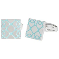 Simon Carter For John Lewis Silver Plated Square Embossed Cufflinks Blue