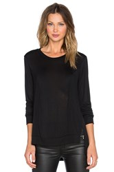 Lanston Slit Rib Paneled Sweatshirt Black