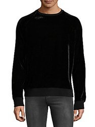 Ovadia And Sons Velvet Crewneck Sweater Black
