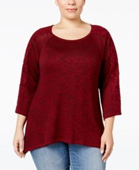 Styleandco. Style Co. Plus Size Lace Sleeve High Low Sweater Only At Macy's Deep Scarlet