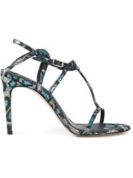 Jean Michel Cazabat Leopard Sequin Sandals Blue