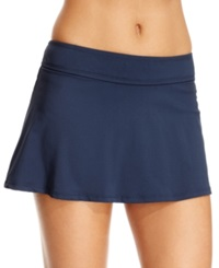 Anne Cole Solid Swim Skirt Women's Swimsuit Navy