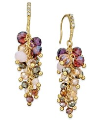 Inc International Concepts Gold Tone Mauve Stone And Crystal Cluster Drop Earrings Only At Macy's