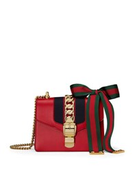 Gucci Sylvie Leather Mini Chain Shoulder Bag Hibiscus Red