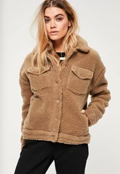 Missguided Camel Faux Shearling Trucker Jacket