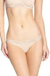 Dkny Women's Lace Trim Thong Cashmere