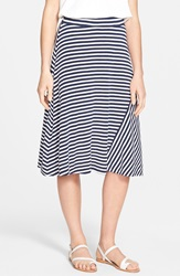 Caslon A Line Knit Midi Skirt Regular And Petite Navy Peacoat White Stripe