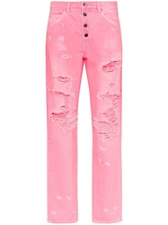 Amiri High Waisted Button Down Straight Leg Jeans Pink