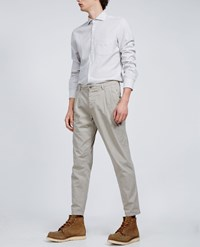 Aspesi Garment Dyed Cotton Pleated Trousers Funzionale Pince Sand