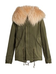 Mr And Mrs Italy Fur Trimmed Canvas Mini Parka Green