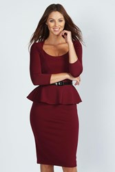 Boohoo Long Sleeve Belted Peplum Midi Dress Berry