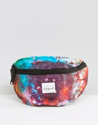 Spiral Fanny Pack In Galaxy Print Blue