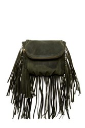 Cynthia Vincent Autumn 2 Leather Fringe Crossbody Green