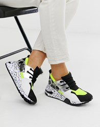 Steve Madden Cliff Black Sneakers With Neon Trim Green
